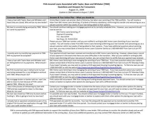 FHA - Insured Loans Associated with Taylor Bean - Q & A
